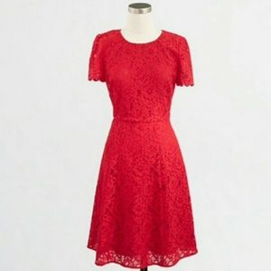 J. Crew Lace Fit and Flare Dress Red 8